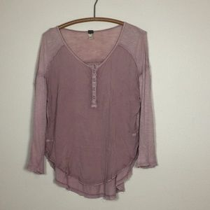 FREE PEOPLE 'We The Free' Blush Boho Henley Top S